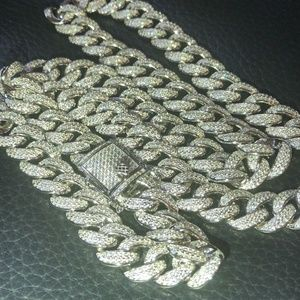 Mens Cuban Miami Link 12mm Chain Solid 925 Silver